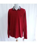 IZOD Sueded Jersey Zip Polo Red Mens Sz L Tall - $33.85