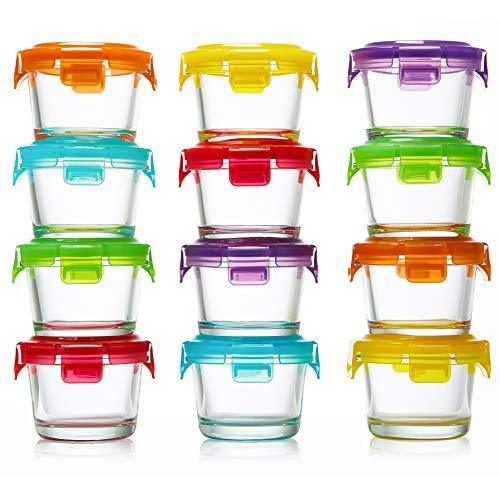 Glass Baby Food Storage Containers with Lids | Set of 12 | 4 oz Glass Food Conta