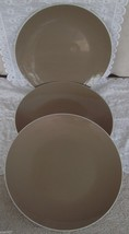 3 Thomson Pottery Duo Tori Mocha Interior White Exterior Coupe Dinner Pl... - $17.99