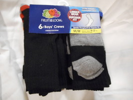Boys Fruit Of Loom Crew Socks 6 Pair Size Medium 9 - 2 1/2 Black Superio... - $9.89