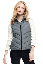 Lands End Women's Down Vest Black Herringbone New - $49.99