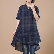 2018 ZANZEA Women Cotton Linen Blouse Vintage Plaid Check Short Sleeve Summer Wo image 3