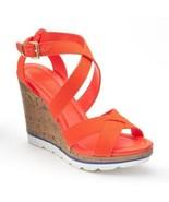 Candies Canvas Upper Platform Wedge Sandals Orange Size 6.5 New - $34.99