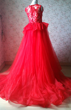 Pageant Red Lace Tutu High Waist Flower Girl Dress 2-Way Girl Birthday Dress NWT image 8