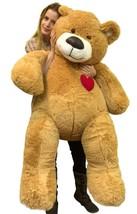 55 Inch Giant Teddy Bear Love Heart on Chest, Tan Soft New Big Plush Ted... - $97.11