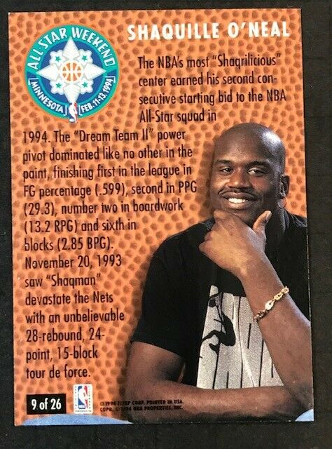1994-95 Fleer SHAQUILLE O'NEAL All Star Weekend - #9 of 26