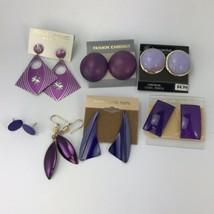 6 Pairs Purple Pierced Earrings Vintage 1980's 90's Estate Lot Some Impe... - $11.88