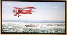 Bi-Plane Over Snowy Village Original Painting by Barnie Slice - SC Framed - $377.00