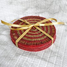 Beaded Coasters, Red & Gold, set of 4, fabric bead mats, holiday coasters