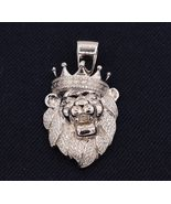 White Gold Finish 925 Silver 2 CT Diamond Greek Crown Lion Head Charm Pe... - £95.96 GBP