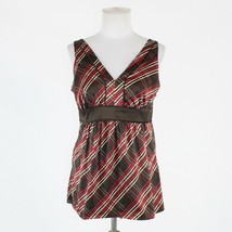 Brown ivory & red plaid sateen NEW YORK & COMPANY sleeveless V-neck blou... - $10.00