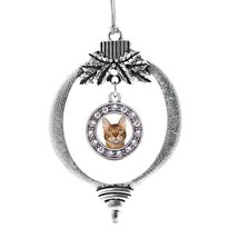 Inspired Silver Bengal Cat Circle Holiday Christmas Tree Ornament With Crystal R - $14.69