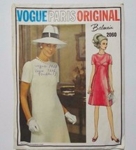 Vogue Paris Original Balmain A Line Dress Pattern 2060 Misses Size 10 1968 - $27.71