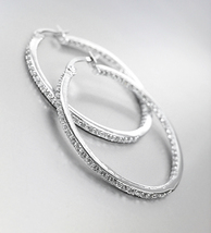 "EXQUISITE Thin 18kt White Gold Plated IN OUT CZ Crystals 1 1/4"" Hoop Earrings 73 - $36.99"