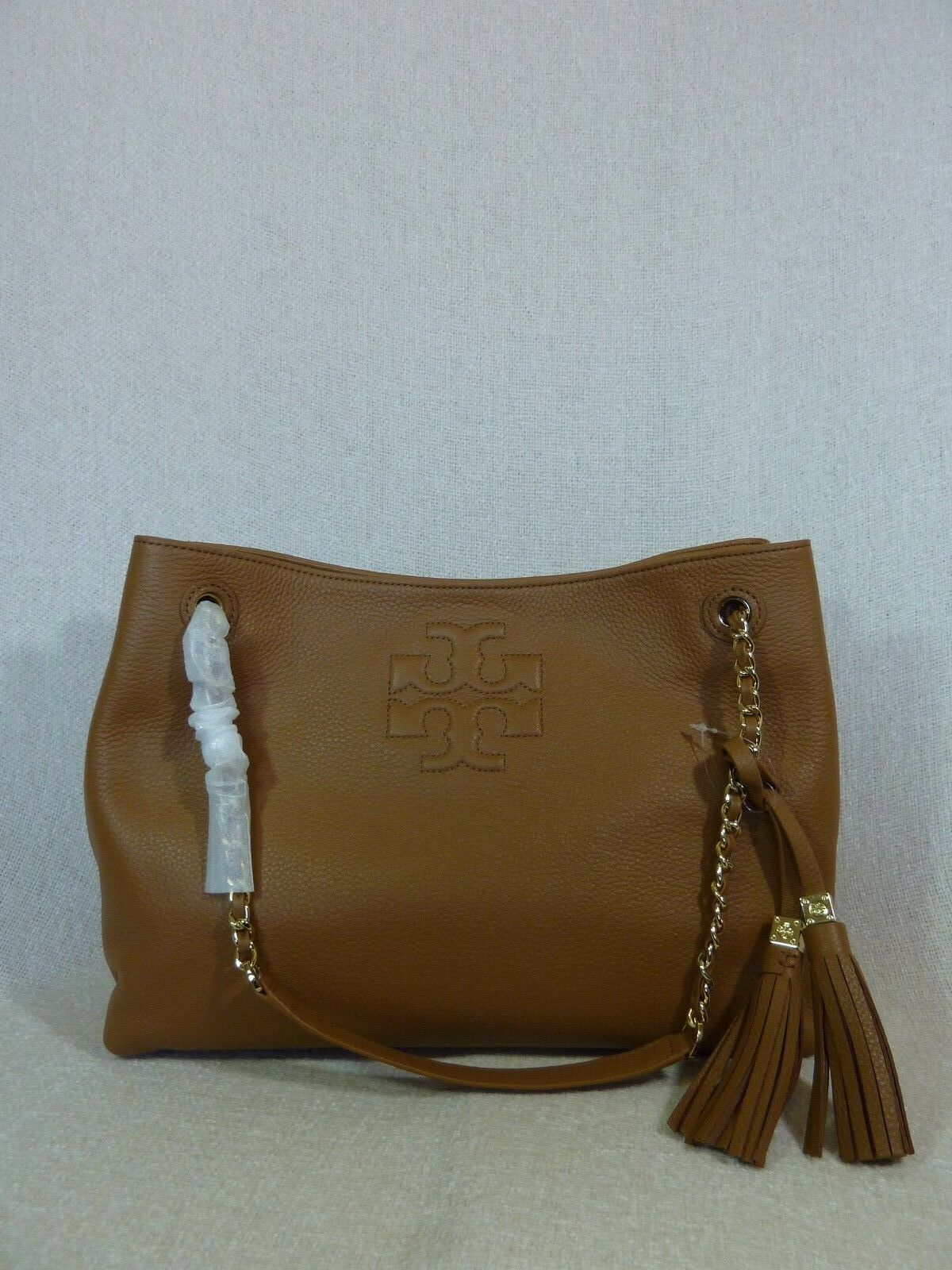 NWT Tory Burch Bark Brown Pebbled Leather Thea Chain Slouchy Tote $495 image 5