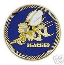 USN NAVY SEABEES BLUE GOLD PIN - $13.53