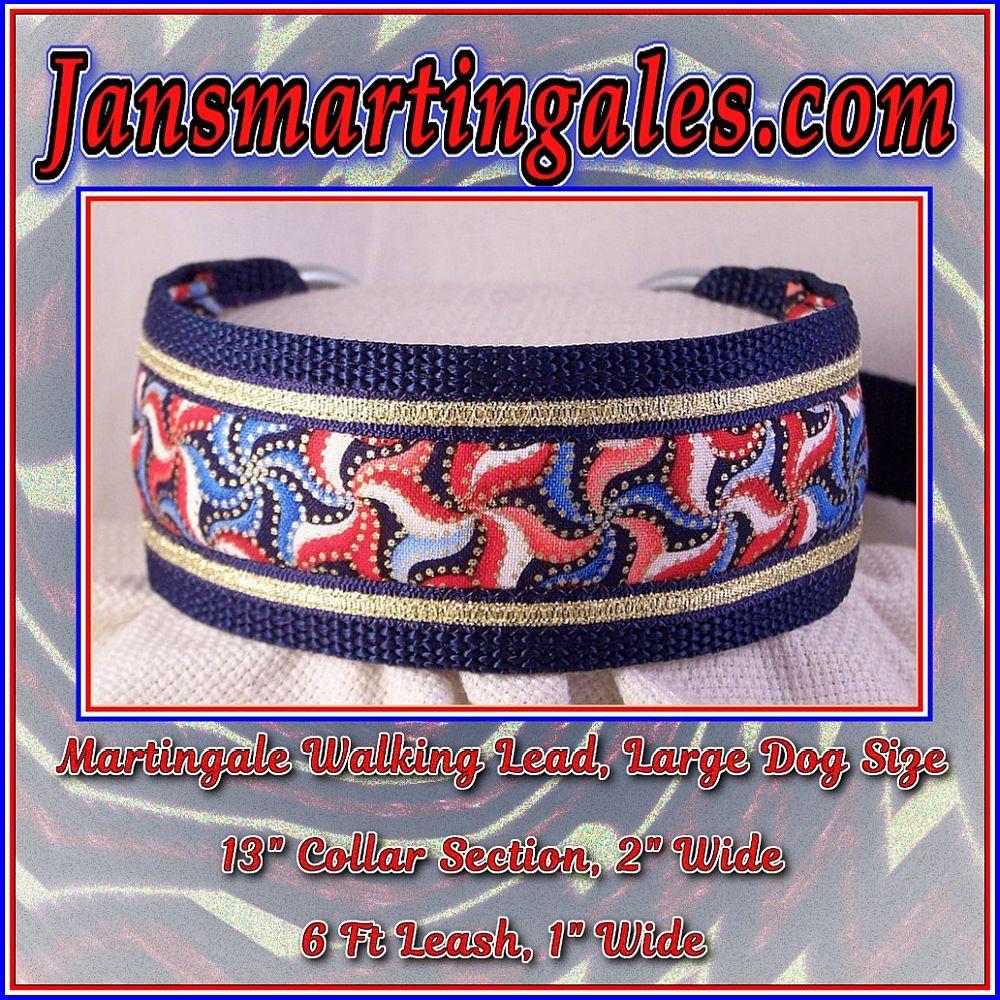 Jansmartingales, Martingale Collar/Leash Combination, Large Dog Size, nvy1091
