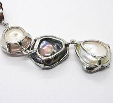 Silber Anhänger 925, Drei Perlen Barock-Stil, Schwarz, Pink, Zirkonia, Made IN image 5
