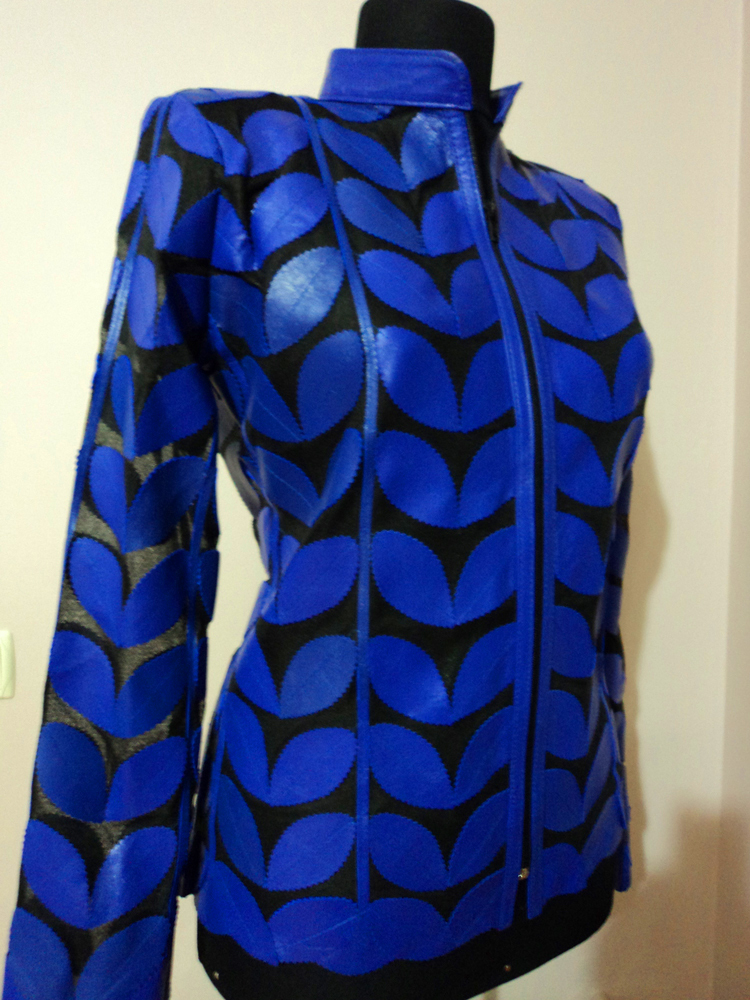 Blue Leather Leaf Jacket Women All Colors Sizes Genuine Short Zip Lightweight D1