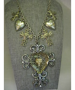 Necklace Gothic Antique Silver Tone Pendant Filigree Cross Beaded Heart ... - $29.99