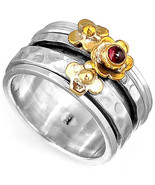 Spinner Flower Garnet Ring Sterling Silver 925 Birthstone Wide Women Siz... - $18.98