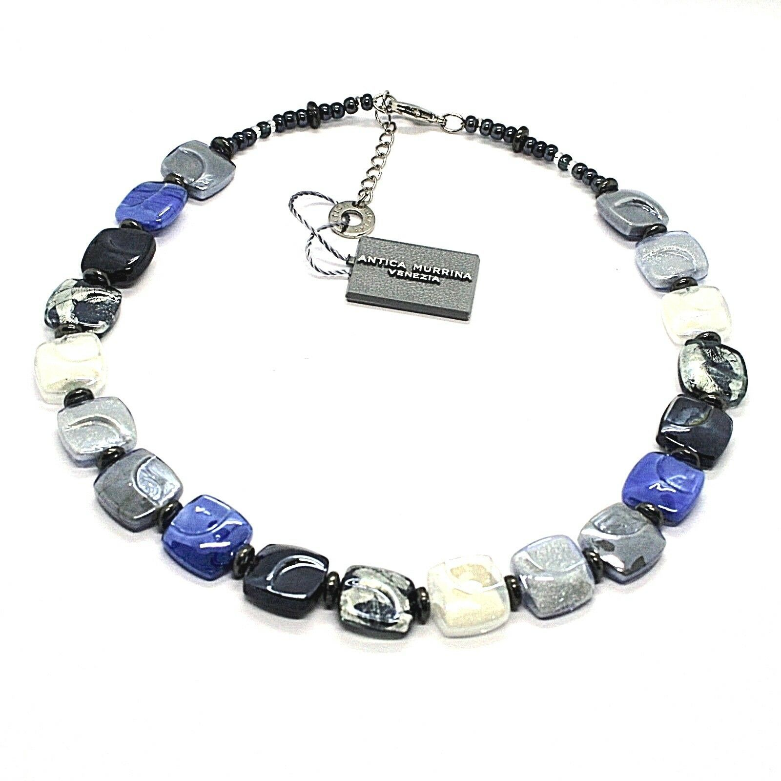 NECKLACE ANTICA MURRINA VENEZIA WITH MURANO GLASS BLUE SILVER BLACK CO988A06