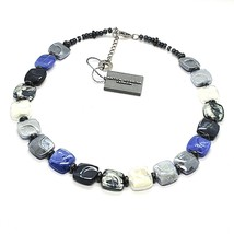 NECKLACE ANTICA MURRINA VENEZIA WITH MURANO GLASS BLUE SILVER BLACK CO988A06 image 1