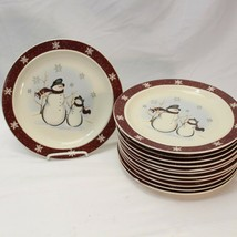 "Royal Seasons Snowman Christmas Dinner Plates 10.25"" Lot of 12 - $97.99"