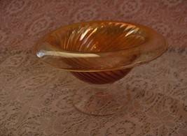Vintage Peach Apricot Carnival Glass Compote Candy Nut Dish Turned Down ... - $44.55