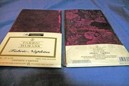 "Better Homes Set Of 2 Packages Maroon Fabric Damask Napkins 14"" x 14"" - $4.84"