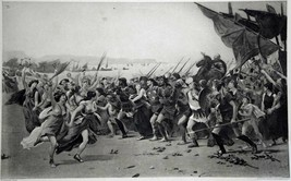 Antique Etching Art Print Titled: THE VANQUISHERS OF SALAMIS F. Corom, PINX - $29.99
