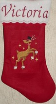 "19"" Personalized Male Reindeer Felt Christmas Stocking - $13.95"