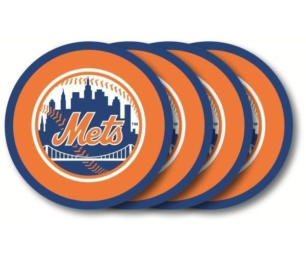 NEW YORK METS 4 PACK HEAVY DUTY VINYL DRINK COASTER SET MLB BASEBALL