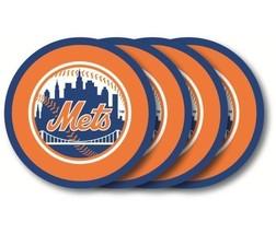 NEW YORK METS 4 PACK HEAVY DUTY VINYL DRINK COASTER SET MLB BASEBALL - $13.92