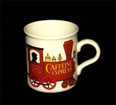 Vintage American Greetings CAFFEINE EXPRESS Locomotive Train Mug Appears... - $17.99
