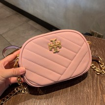 TORY BURCH Kira Chevron Small Camera Crosbody Shoulder Bag Pink Authentic - $278.00