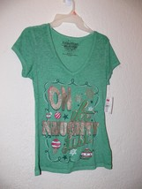 On the Naught List Rocker Girl Holiday Green T Shirt Junior M 7-9 - $7.99