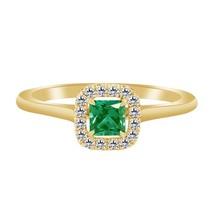 1.36 Ct Green Emerald & Diamond 14k Yellow Gold Fn Halo Engagement Ring - $79.99