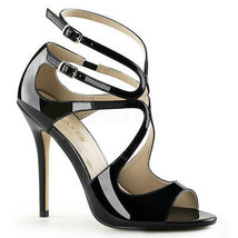 """PLEASER Sexy Black Strappy Swirl Cutout 5"""" Stiletto Sandals High Heels Shoes - $52.95"""