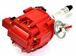 HEI Distributor Red Cap with Black Spark Plug Wires Set Pigtail Wiring Harness image 4