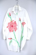 Signed Hand Painted Summer Shirt Dress Tunic Beach Coverup Poly Cotton O... - $34.40