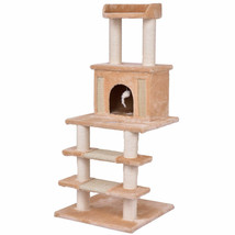 "52"" Tower Condo Scratching Post Cat Tree w/ Rope and Mouse-Beige - £53.97 GBP"