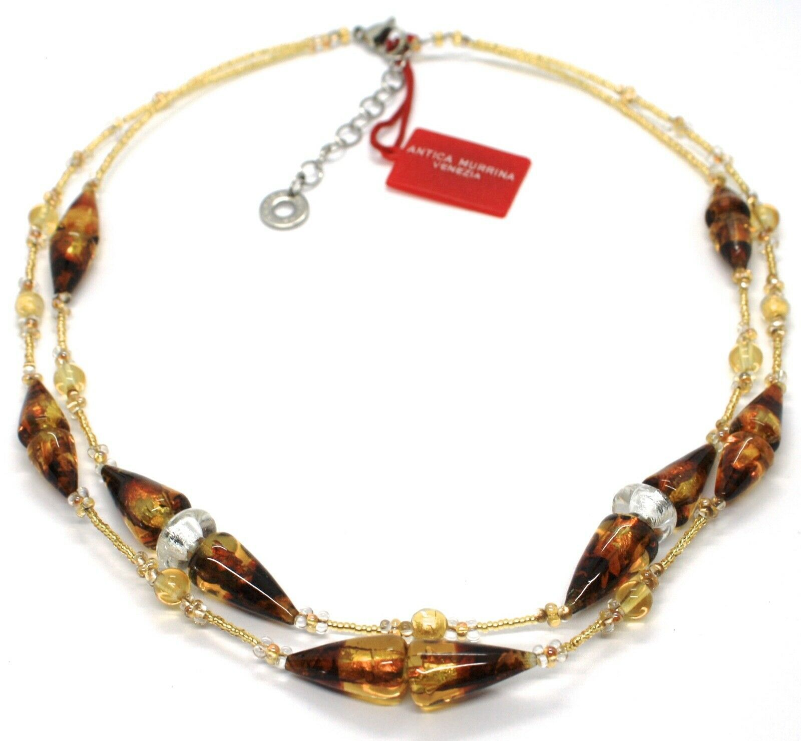 Necklace Antique Murrina,CO767A10,Cones,Colour Amber,Yellow,Two Wires,Murano