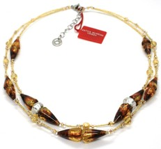 Necklace Antique Murrina,CO767A10,Cones,Colour Amber,Yellow,Two Wires,Murano image 1
