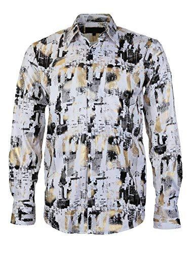 LW Men's Western Cowboy Long Sleeve Modern Rodeo Dress Shirt