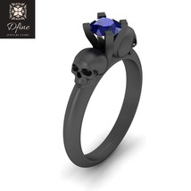 1 Carat Solitaire Blue Sapphire Skull Engagement Ring For Womens Solid 14k Gold - $799.99
