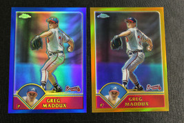 2003 Topps Chrome GOLD Refractor /449 and BLUE Refractor /699 Greg Maddu... - $21.78
