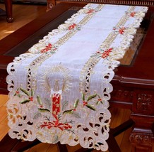 "Holiday Christmas Candle Placemat Table Cloth Runner White 16X72"" - $19.95"