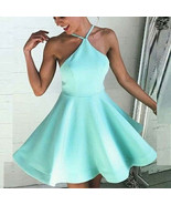 Green Back Open Short Homecoming Dress Off Shoulder Cocktail Gowns A Lin... - $90.00