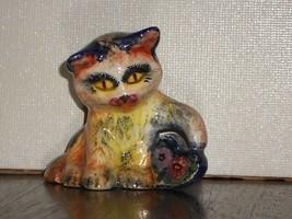 Kaliopi K. Nikolaou CAT FIGURINE Greek Art Pottery Signed Hand Made #105 - £19.86 GBP